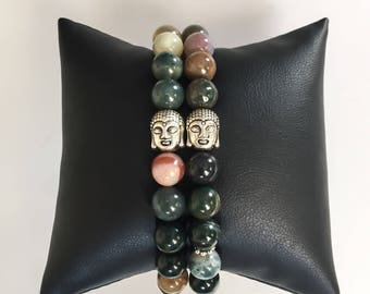 Mother's Day // Indian Agate Buddha Head Bracelet