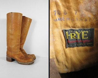 Vintage Frye Campus Boots Tall Women's Blonde Leather 1970s Black Label - Size 7 1/2 B