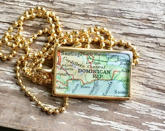 Dominican Republic Map Necklace, Gold Map Pendant Necklace , Travel Gift Jewelry