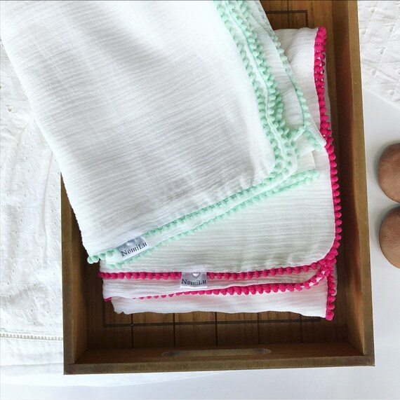 NomiLu Spring Confetti Swaddles - WHITE Mulsin Pom Swaddles - Cotton Muslin Gauze Swaddle Blanket