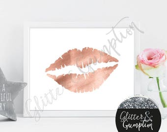 Fashion Lips rose gold foil effect print beauty room print
