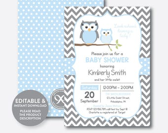 Owl baby shower etsy instant download editable owl baby shower invitation blue owl invitation boy baby shower owl baby sprinkle blue gray chevron sbs43 filmwisefo