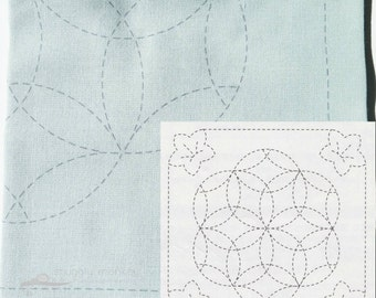 Japanese Embroidery Kit | Sashiko Kit with Pre-Printed Sashiko Fabric - Sashiko Pattern KiKyou to Hanazashi on Teal (No 480)