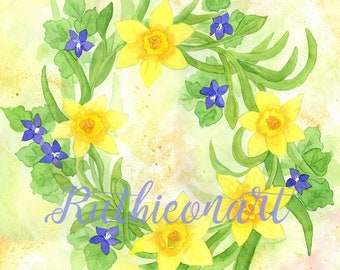 Floral Watercolor Wreath Print - Daffodils
