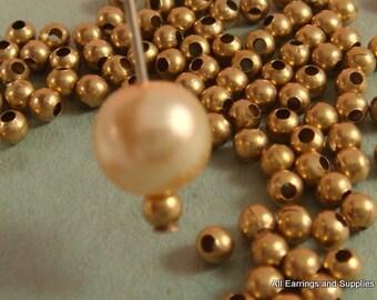 100 Unplated Brass Spacer Beads 3mm Round Metal - 100 pc - M7013-UN100