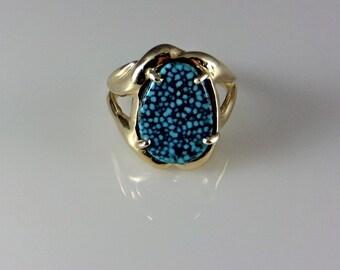 14k Gold Spiderweb Kingman Turquoise Ring Handmade Size 8.0, GL19