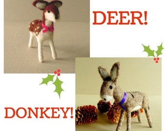 Farmhouse Holiday decorations - set of 2 needle felted tree ornaments - deer and donkey - rustic Christmas gift ideas
