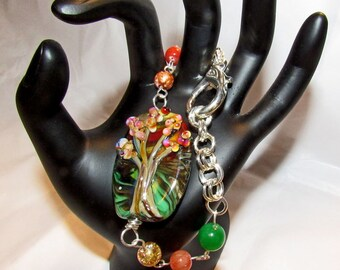 Tree of Life Bracelet Autumn Colors OOAK Footprints Handmade Autumn Leaves