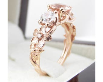 Three Stone ring 14K Rose Gold Morganite Ring Moissanite Engagement Ring Unique 3-Stone Diamond Ring