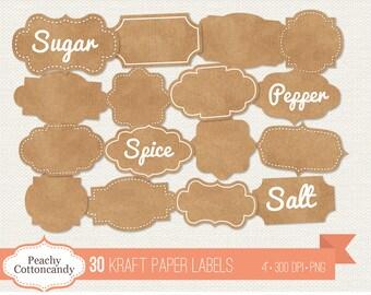 BUY 2 GET 1 FREE 30 Digital Kraft Paper Labels - Cardboard Labels Clip art - Kraft Paper Embellishment Clipart - Commercial Use Ok