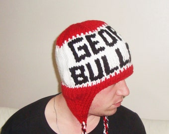 Georgia Bulldogs Hat Red White Black Hat Personalized Gift Mens Hat Winter Hat Mens Gift for Him Hand Knitted Hat Ear Flap with Earflaps