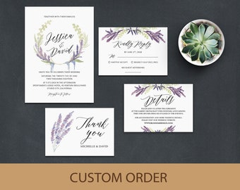 Wedding Invitation Template, Wedding Invitation Suite, Lavender Wedding Invitation, Wedding Invitation Printable, Purple Wedding Invitation