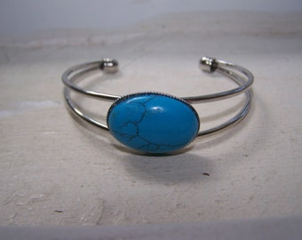 Silver Turquoise Southwestern Cuff Bracelet
