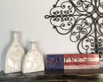 America (Flag background) Wood Sign
