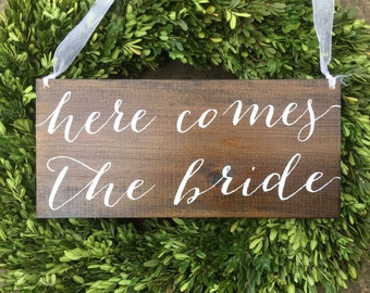 Here comes the Bride, flower girl sign, ring bearer sign,rustic wedding signage, rustic sign, rustic wooden sign, custom wood sign, custom
