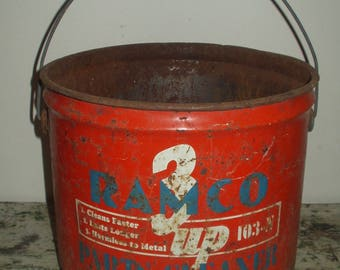 Vintage Ramco Parts Cleaner Bucket Container Bail Wood Handle Repurpose Planter Man Cave Industrial Garden St Louis Industrial