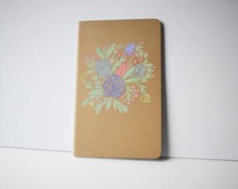 Floral embossed kraft brown journal
