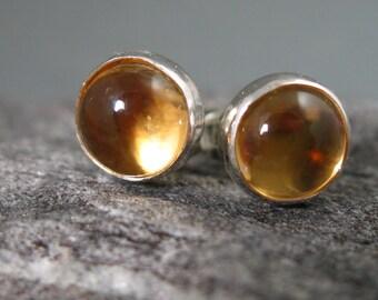 6mm Citrine Post Earrings, Citrine Studs, Artisan Earrings, Handmade Earrings, Natural Citrine Studs
