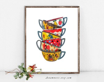 TIN TOY TEACUPS - digital image download - printable vintage original image by Anamnesis - image transfer - totes, pillows, prints, clothes