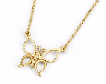 14k Butterfly Necklace, Butterfly Necklace, Gold Butterfly, Dainty Jewelry, Butterfly Jewelry