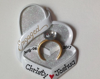 Engagement Ring  Personalized Christmas Ornaments-She Said Yes, Will You Marry Me, Engagement Favors- Free personalization