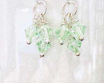 Chrysolite Swarovski Crystal Cluster Beads Earrings
