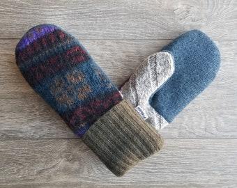 Best Wool Sweater Mittens // Womens Sweater Mittens // Fleece Lined mittens // Multi Fall Colors