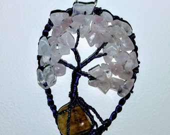 Tree Of Life Necklace pendant, Beaded Wire Tree Jewelry