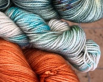 Hand dyed yarn,Mitten/Fingerless Mitt Kit #10,Indie Dyed Yarn,gift for yarn lovers,50 gram Mini Skeins,Mitten/Mitt kit-pattern not included