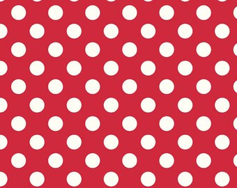 Red Polka Dot Cotton Fabric - Red and White Fabric - Red Dots Fabric - Printed Fabric Quilting Cotton - Curtain Fabric - Red Large Dots