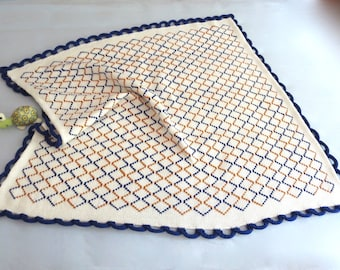Sample Sale - Hand Knit Cotton Baby Blanket - Contemporary Design