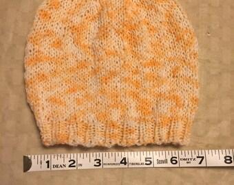 Hand knit creamsicle wool beanie