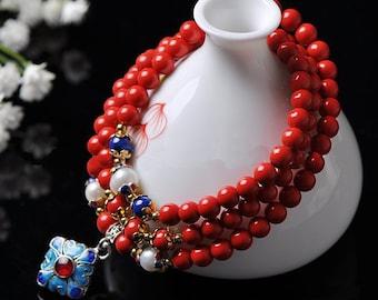 6mm Red Cinnabar Beads with Cloisonn Pendant Bracelet