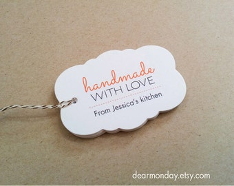 Handmade With Love Favor Tags - Customized product hang tags - Etsy Shop Tags - Tags for crafters - Packaging tags (TM01)