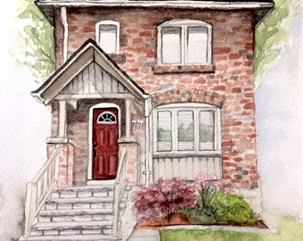 Custom Home or Cottage Watercolor Painting