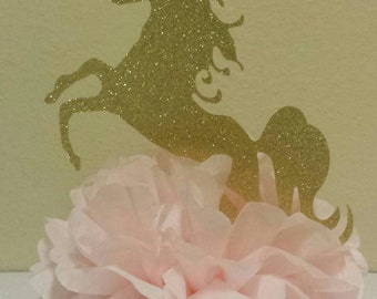 Pink Glitter Gold Princess Unicorn Birthday Party or Baby shower Centerpiece Table Decor your choice of colors!