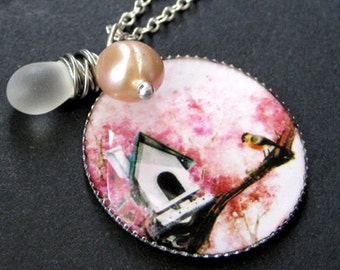 Birdhouse Necklace. Pink Charm Necklace with Fresh Water Pearl and Frosted Teardrop. Handmade Jewelry.