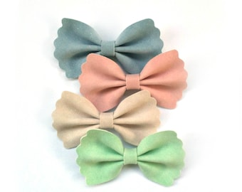 Scalloped Faux Suede Bows