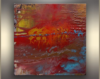 """10"""" Red Original abstract painting Acrylic Painting on Canvas Landscape Painting Abstract Art Original Painting Acrylic Fall Abstract Art"""