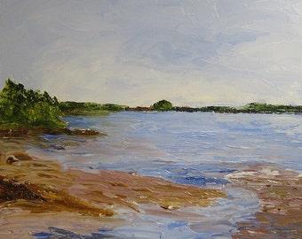 Maine peinture peinture à l'huile Wolfe col marin Plein Air Original à l'huile sur toile Freeport la baie de Casco Maine artiste Kathleen Daughan