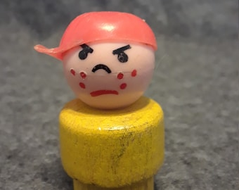 Vintage Fisher Price Little People boy from 1969-70, wood body, plastic head