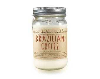 Coffee Candle, Brazilian Coffee 16oz Scented Candle   Strong Scented, Mason Jar Candle, Coffee scent,Thanksgiving,Coffee candles,Fall candle