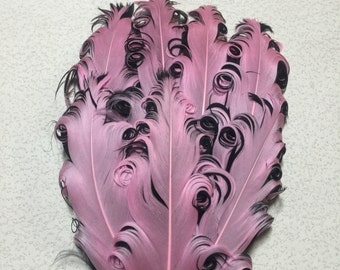 Two toned Pink and Black Nagorie Feather Pad, Curly Nagorie Feather Pad, Goose Feather Pad, DIY Feather Pad for Headbands, Curly Feathers