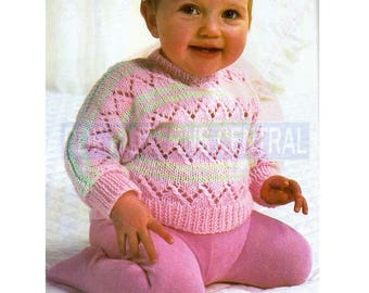 80s Infants' Candy Striped, Lacy Knitted Pullover, Knitting Pattern Chest Size 46-56 cm, Instant Download PDF, 3 pages