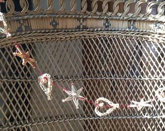 Set of TWO handmade woven straw heart & star Boho garlands, stringers