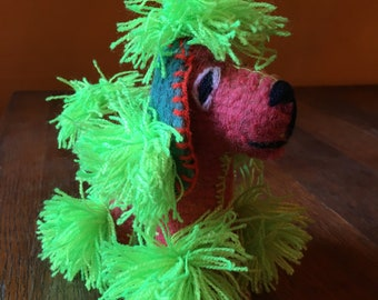 Natural Wool Mayan Handmade Stuffed Animal Poodle, Mexican Art, Twoolie