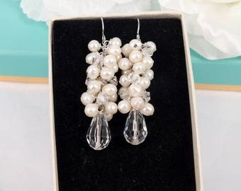 Freshwater Pearl and Crystal Bridal Earrings