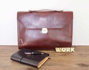 vintage briefcase maroon leather slim profile DE-STRESSED