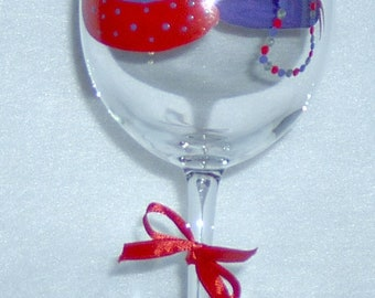 Wine Glass Hats Purse Necklace Hand Painted