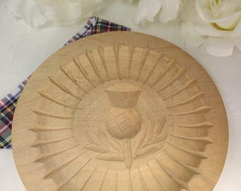 Shortbread Mold/ Mould Wooden Thistle Scottish Vintage Hand Carved in Braemar